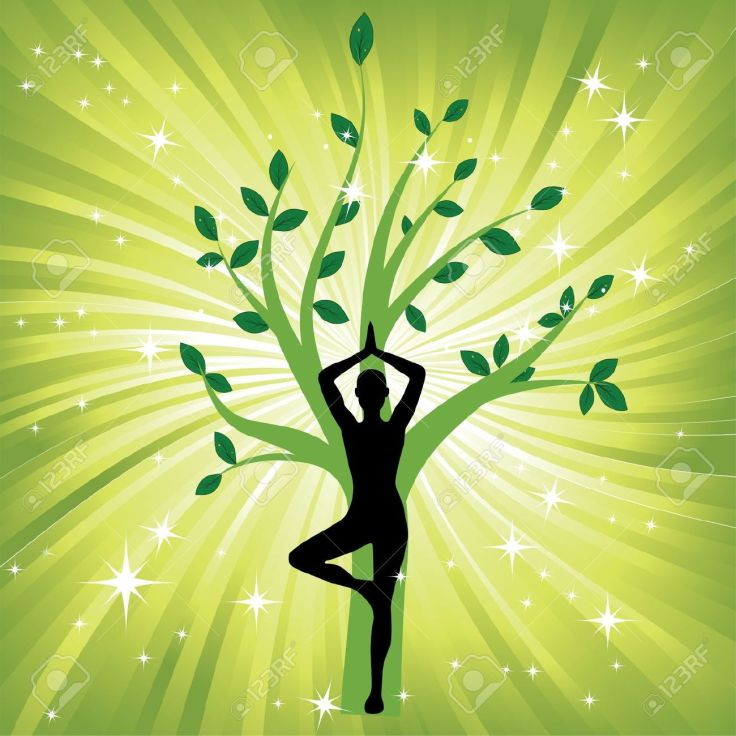 12829617-Woman-in-yoga-tree-asana-sport-on-wave-background-Man-silhouette-pose-in-front-of-leaves-Energy-medi-Stock-Vector.jpg